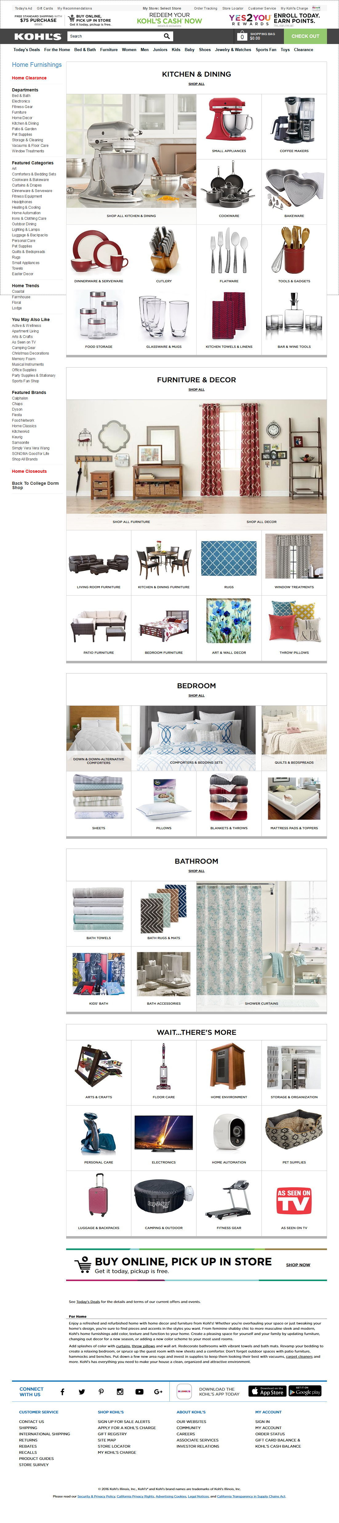Kohls Bedroom Furniture Kohls Homepage Categories Usability Score 1280 Baymard