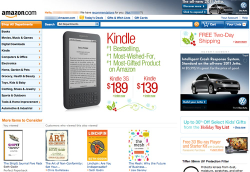 Amazon's home page