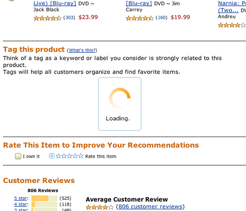 "Amazon's way of loading ""Tag this product"""
