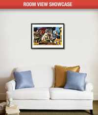 You can upload a picture of your own living room to AllPosters and then place one of their posters directly on it.