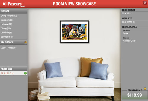 AllPosters let you try out their posters on your own wall.