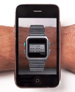 Neuvo let you try out their watch on your wrist.