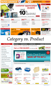 Do you link to categories or products from your home page?