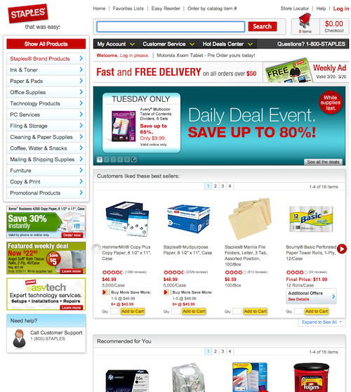 Click for full-size screenshot. Staples direct you to product pages, not category pages.