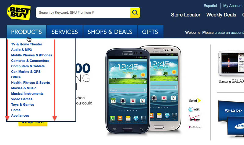 BestBuy navigation example from the Homepage & Category Usability report.