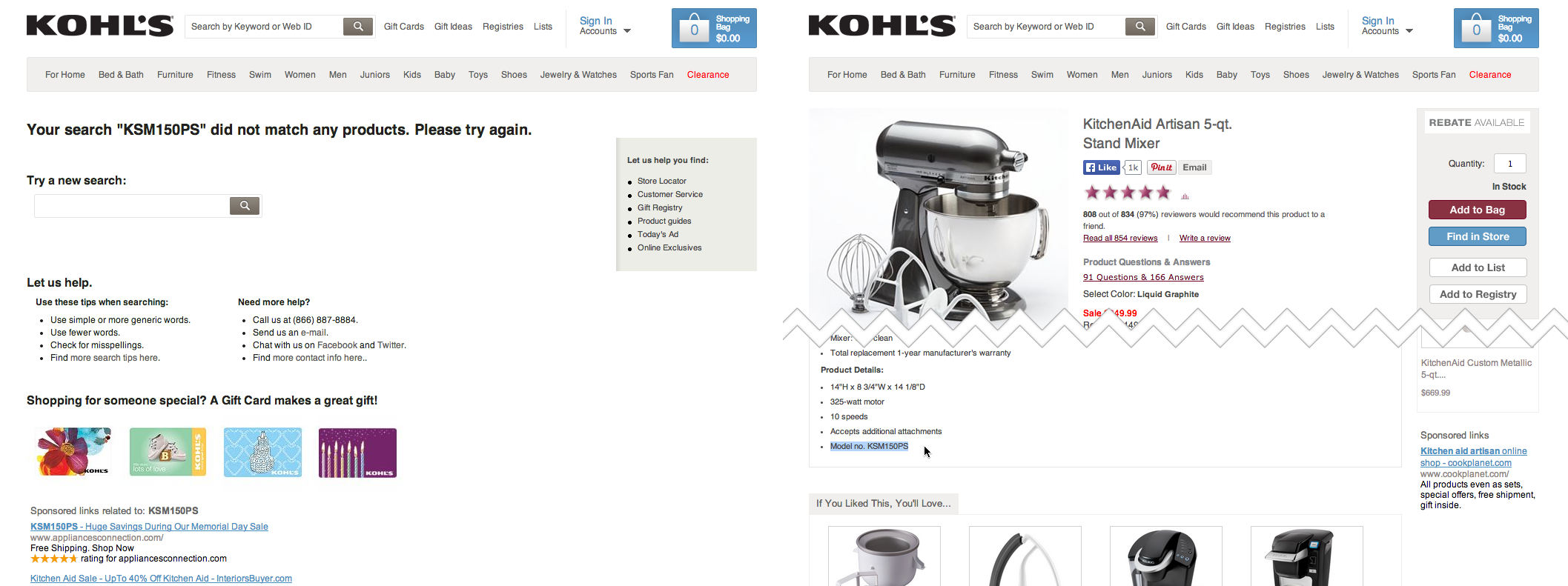 Search for a product by - When A User Searches For A Model Name At Kohl S They Won T Find Anything Even If That Exact Model Number Is Available In The Product Description