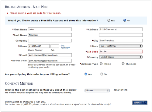 Only a single digit in the ZIP code is wrong yet all the form fields are returned.