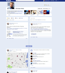 The new Facebook Timeline design.