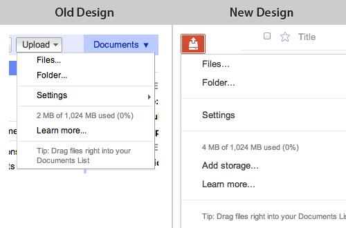 Google Docs design for upload files – new vs old