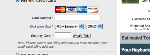 Format the 'Expiration Date' Fields Exactly as the Credit Card (40 ...