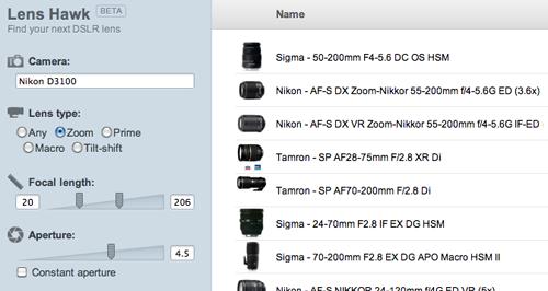 Lens Hawk is a DSLR lens database.