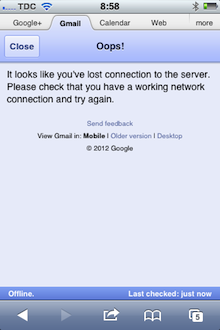Gmail warns the user about connectivity issues.