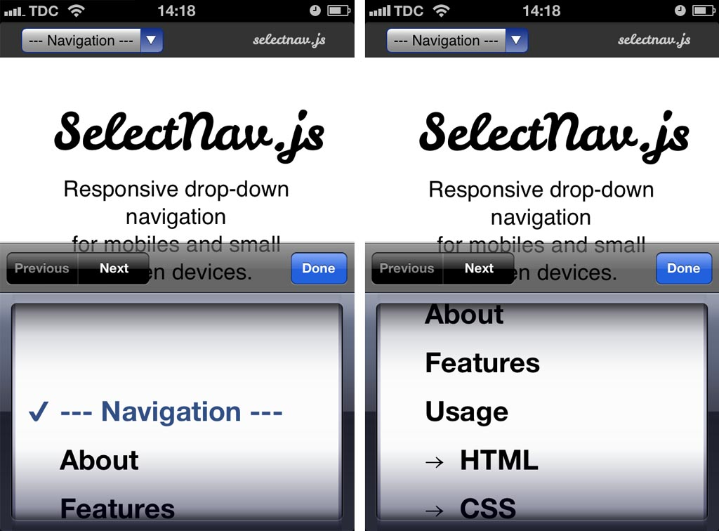 Mobile: Never Use Native Drop-Downs for Navigation