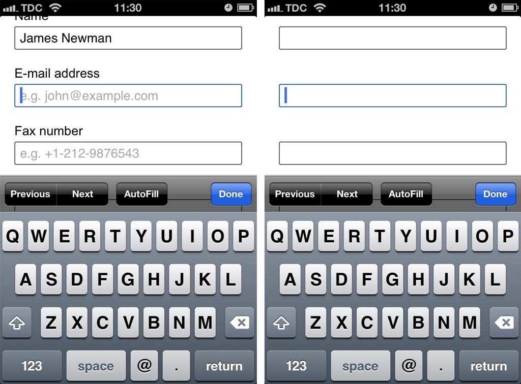 Mobile Form Usability: Never Use Inline Labels - Articles