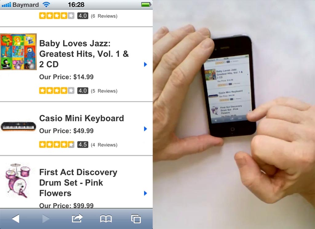 Mobile Product Lists Need Very Distinct Hit Areas