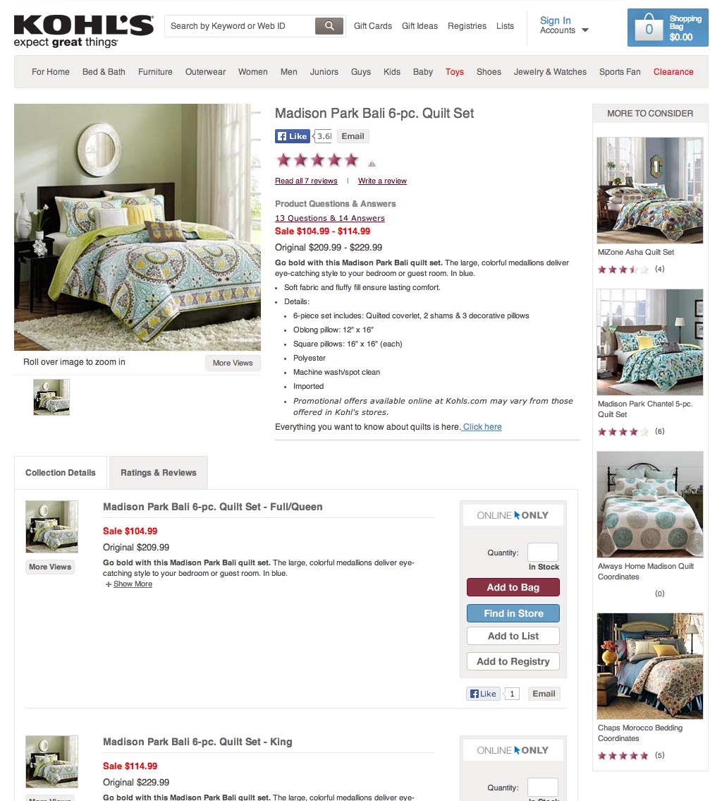 kohls lists alternative products with a more to consider sidebar giving the user quick access to other bedding products in case this particular quilt