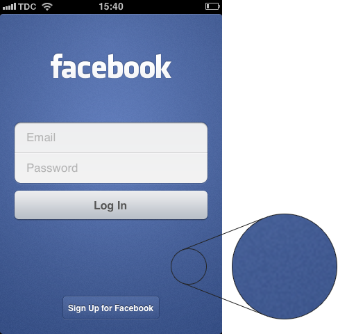 The 'Log In' of Facebook's iOS app.