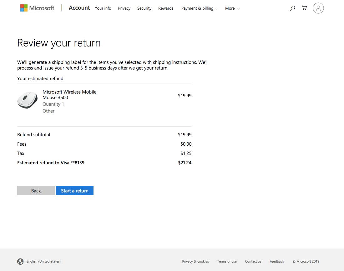 Microsoft - 52 'Order Returns' Design Examples - Baymard