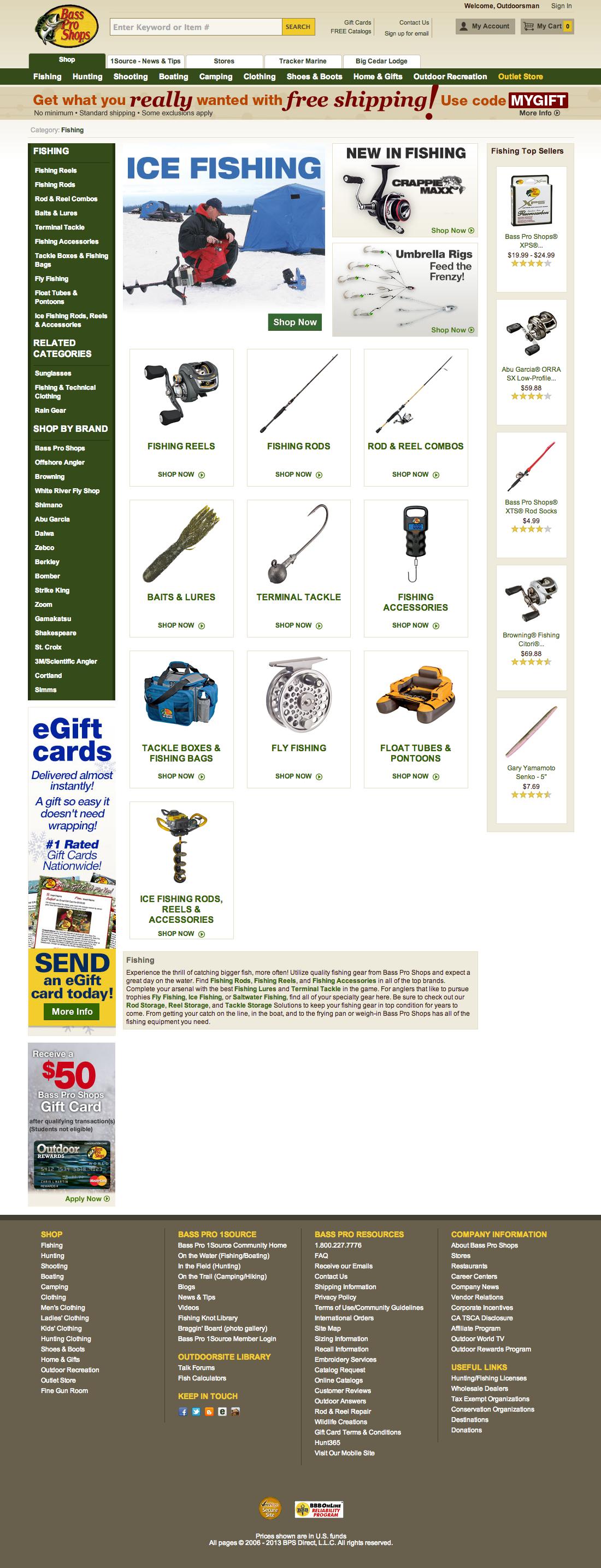 Bass pro shops 160 top level navigation design for Shop homepage