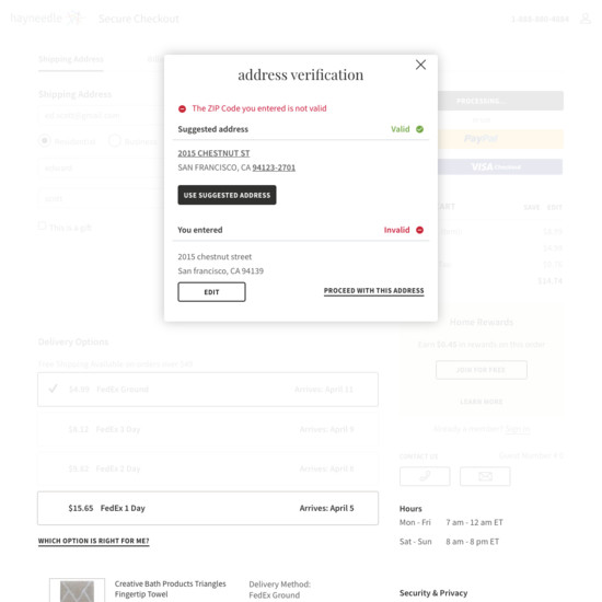 65 Examples of 'Address Validator' Checkout Steps - Baymard Institute