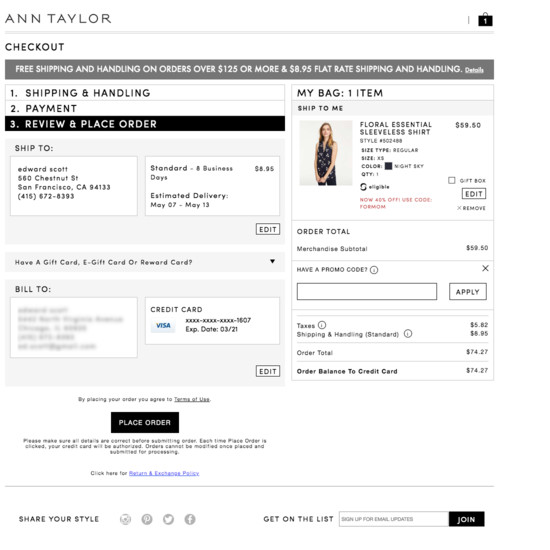 103 Examples of 'Order review' Checkout Steps - Baymard