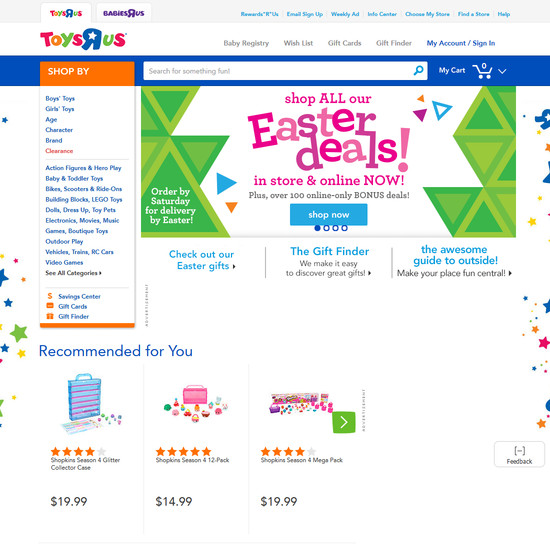 Toysrus homepage categories usability score 985 usability toysrus homepage category design negle Images