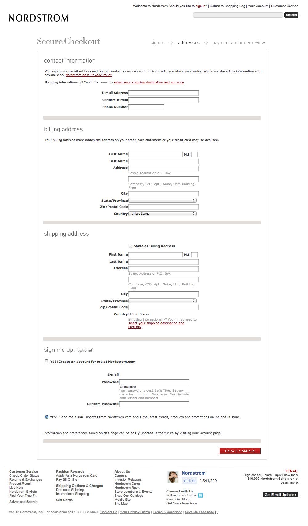 Nordstrom's Checkout Process, Usability Benchmark Score: 733 ...