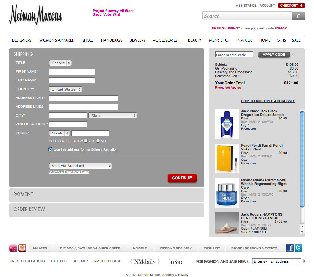 Neiman marcus credit card - Neiman Marcus Checkout Process Usability Benchmark Score 696 Baymard Institute