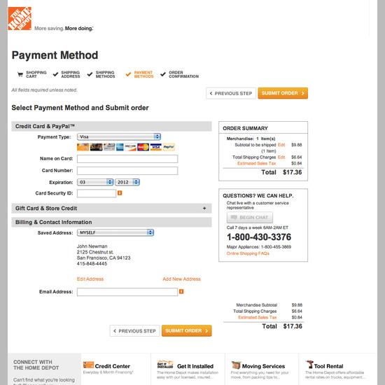 Home Depot's Checkout Process, Usability Benchmark Score