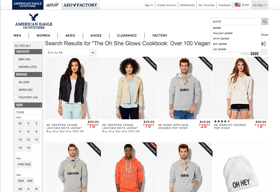 American Eagle Outfitters\' Autocomplete Suggestions - Usability ...