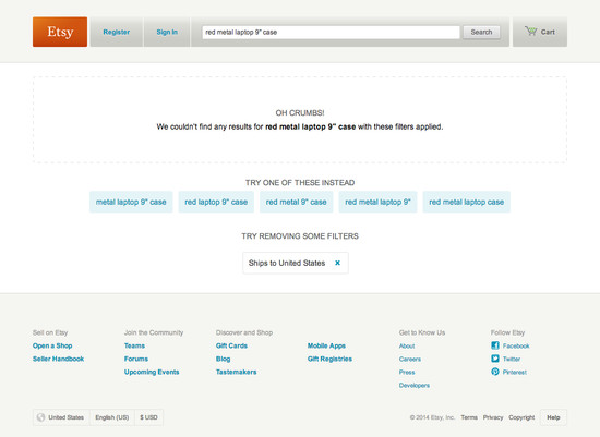 50 'No Results Page' Examples - Usability Benchmark - E-Commerce Search - Baymard Institute