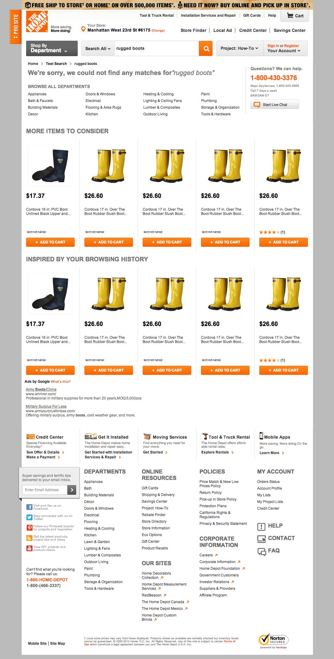 Home Depots Search Usability Score Baymard Institute