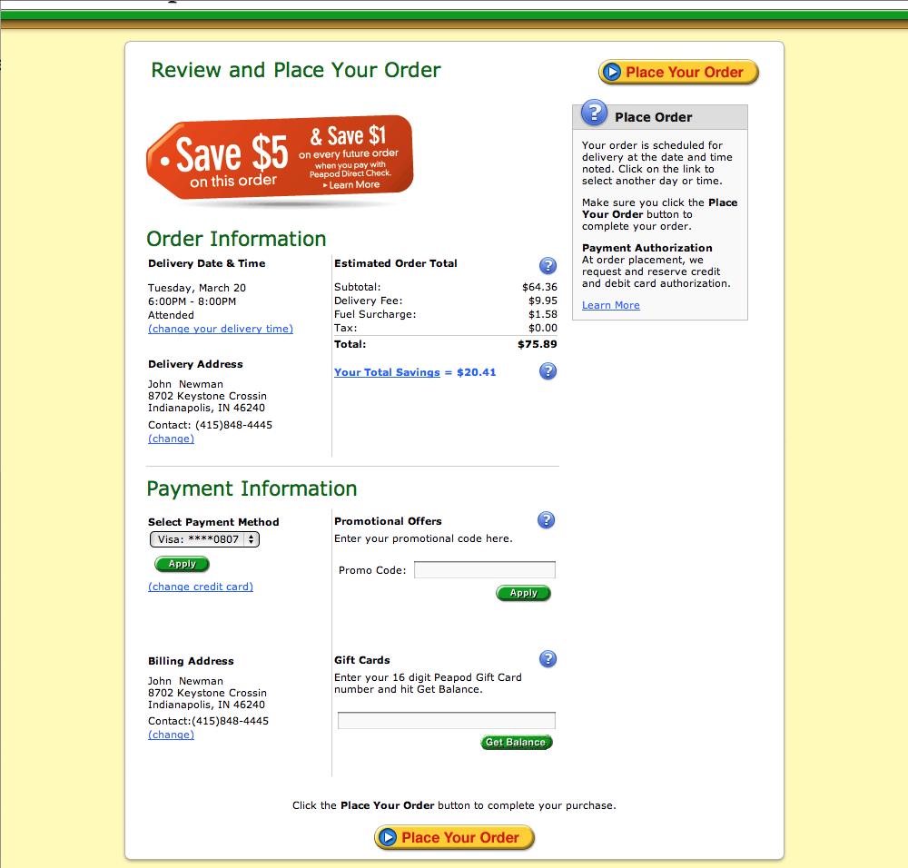 Peapod's Checkout Process, Usability Benchmark Score: 86 - Baymard ...