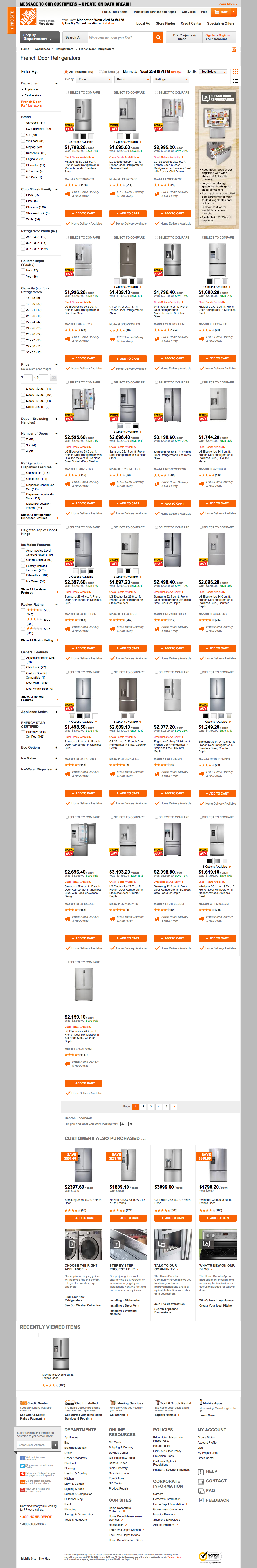 Home Depots Product Lists Usability Score Baymard Institute