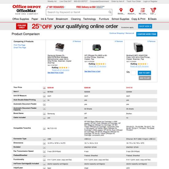 43 'Comparison Tool' Design Examples - Baymard Institute