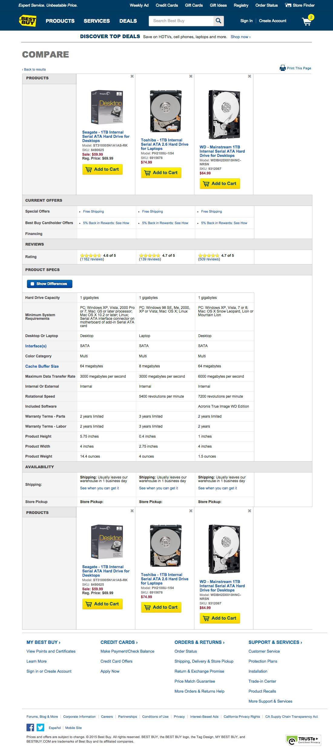 Best Buy - 43 \'Comparison Tool\' Design Examples - Baymard Institute