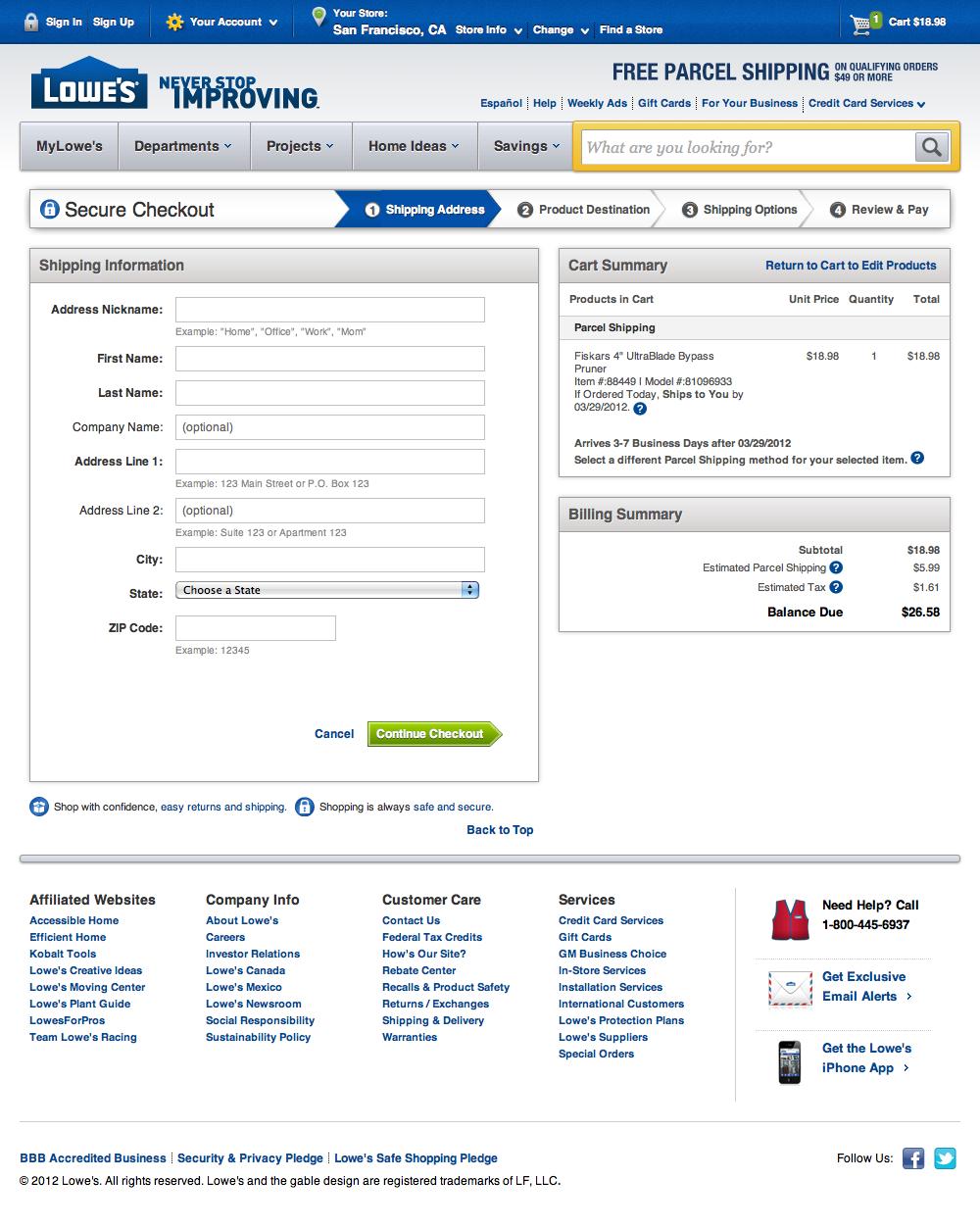 Lowes checkout step 2 shipping address usability benchmark e lowes shipping address step hexwebz Choice Image
