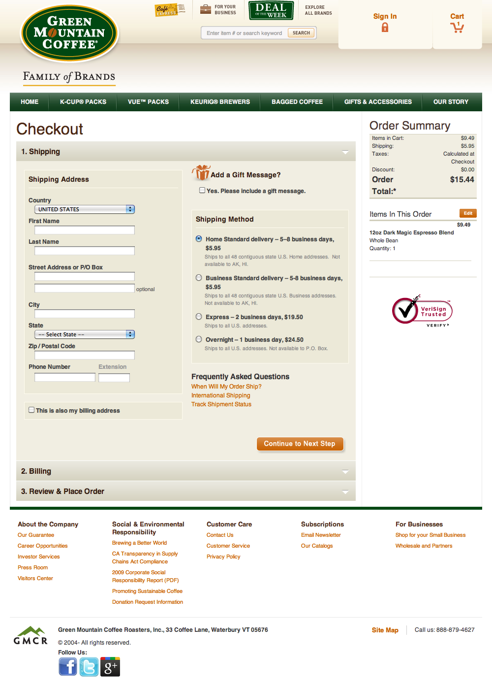 Green mountain coffees checkout step 3 shipping address green mountain coffees checkout step 3 shipping address delivery options billing address usability benchmark e commerce checkout baymard institute aljukfo Choice Image