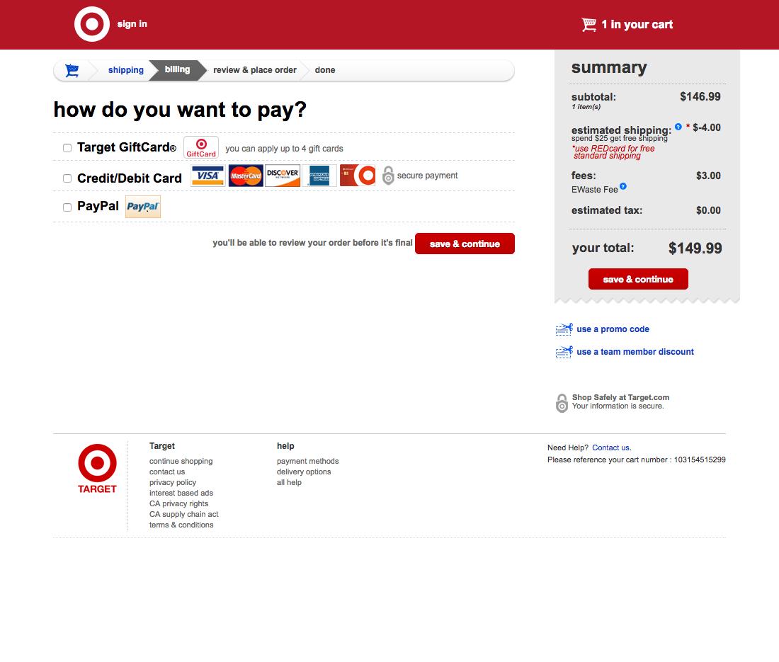 target 38 examples of billing address checkout steps baymard institute