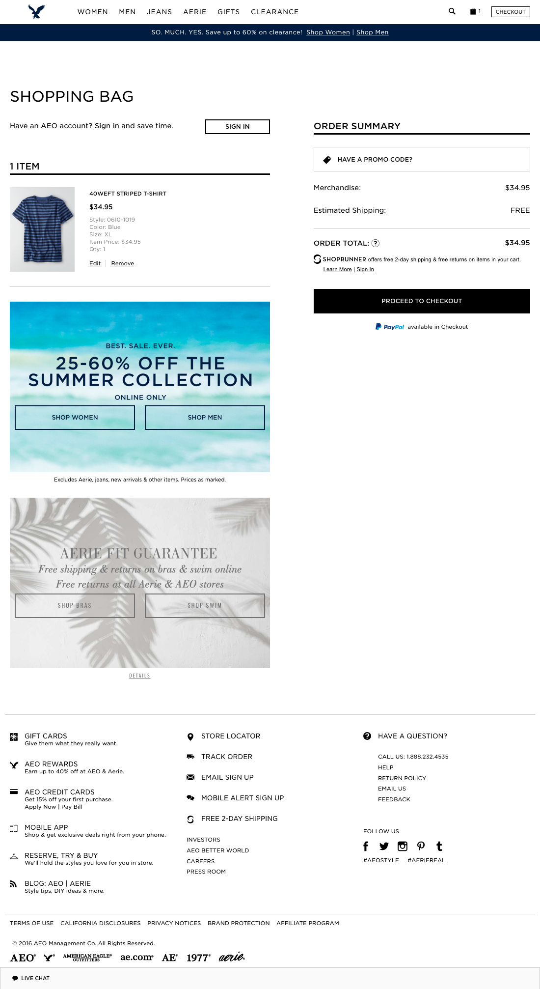 American eagle outfitters checkout process usability benchmark checkout step 1 of 3 cart falaconquin