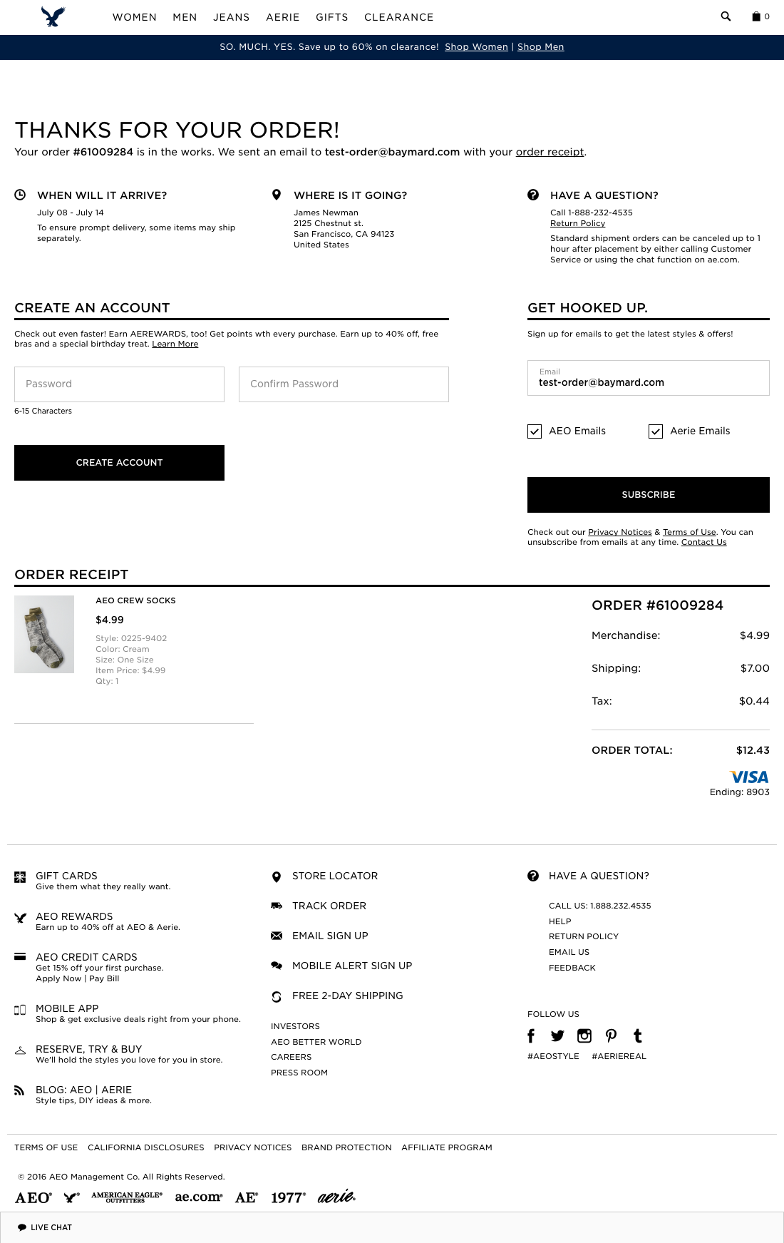 American Eagle Outfitters' Checkout Step 3: Receipt - Usability Benchmark - E-Commerce Checkout - Baymard Institute