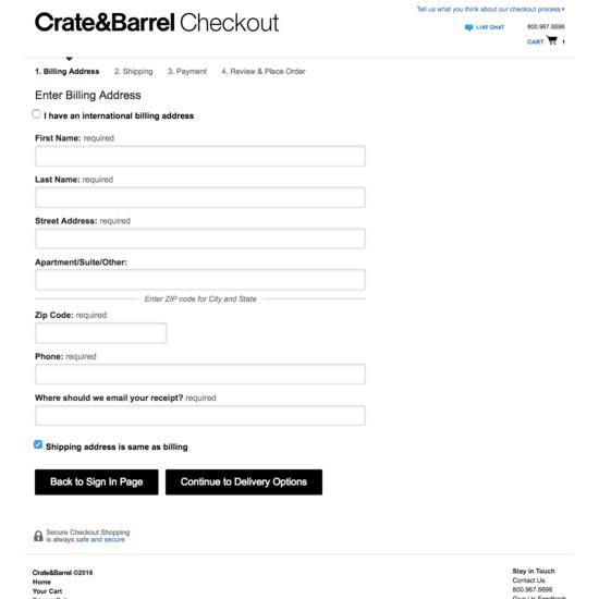 90 Examples of 'Billing Address' Checkout Steps - Baymard