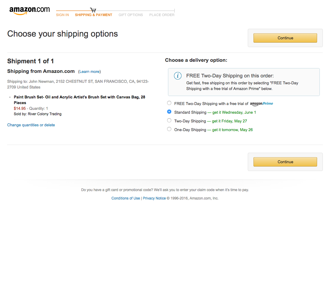 Free shipping amazon code - Amazon S Checkout Step 6 Delivery Options Usability Benchmark E Commerce Checkout Baymard Institute