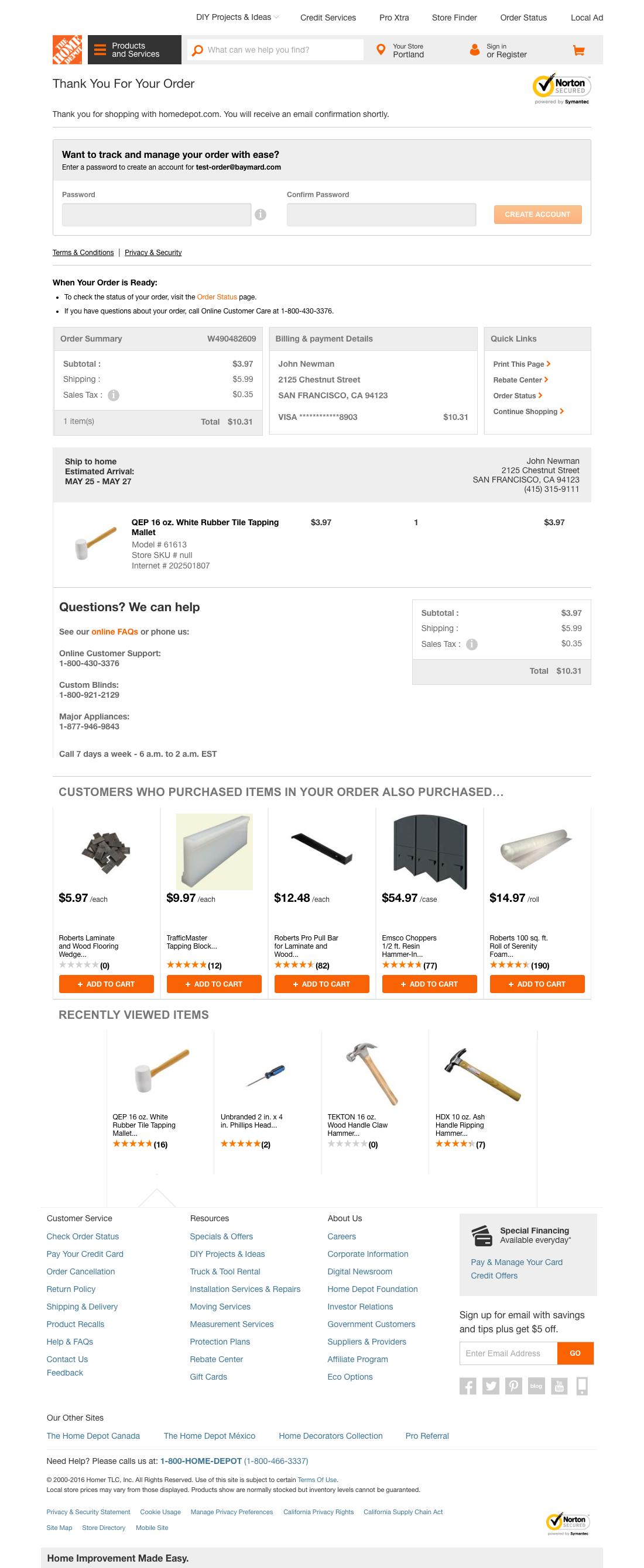 home depot 61 examples of order confirmation checkout steps baymard institute. Black Bedroom Furniture Sets. Home Design Ideas