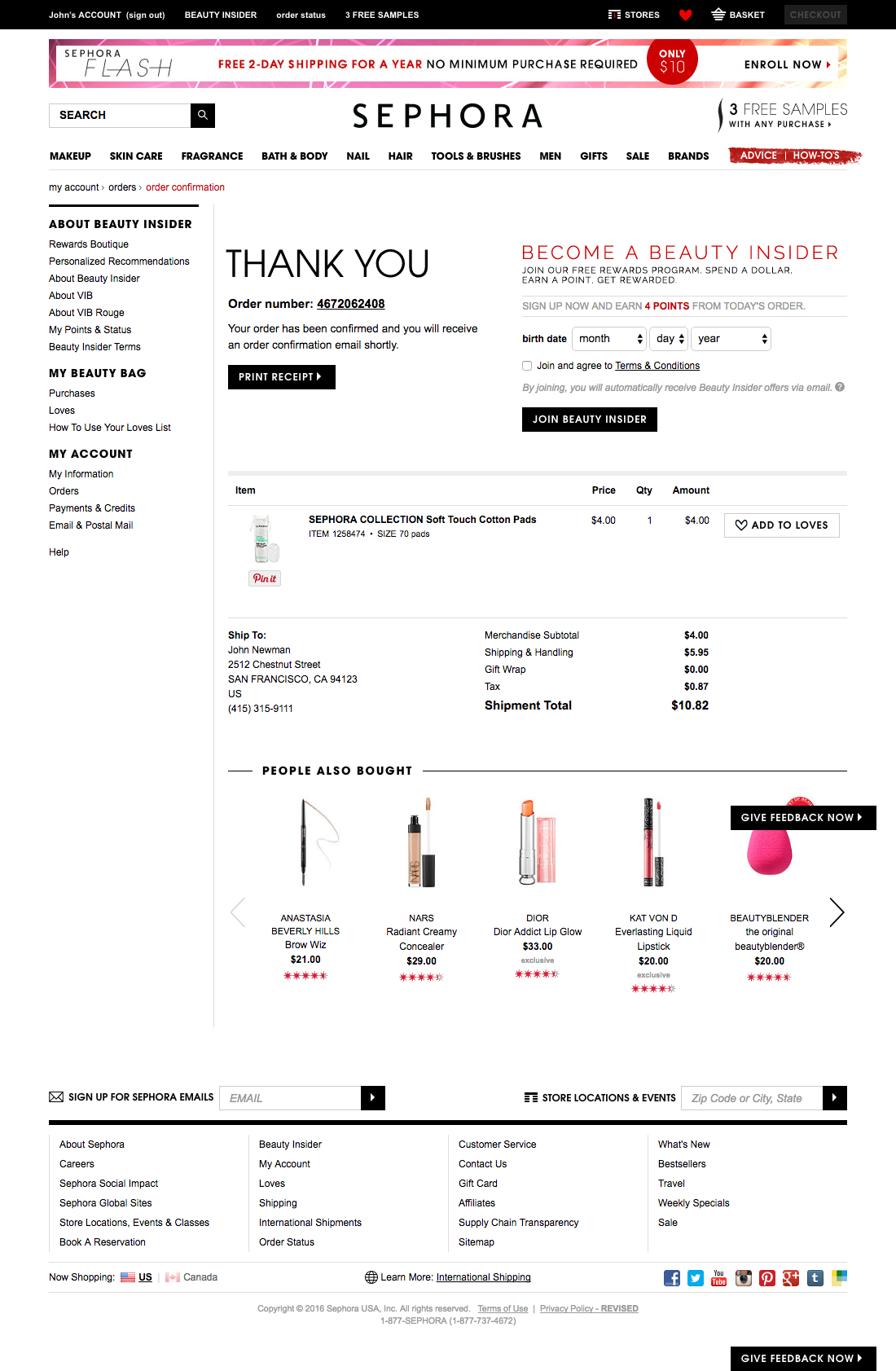sephora 61 examples of order confirmation checkout steps
