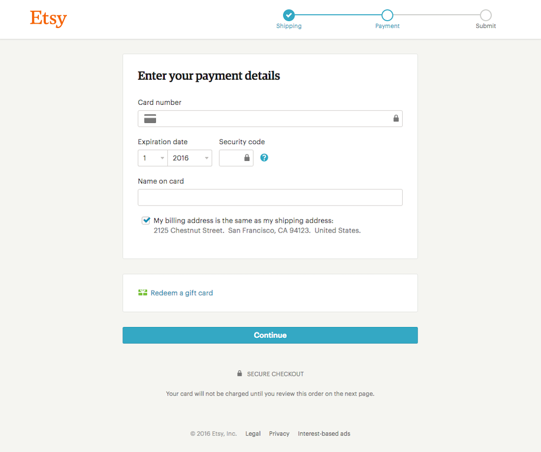 Etsys Checkout Step Delivery Options Billing Address Payment - Etsy invoice template