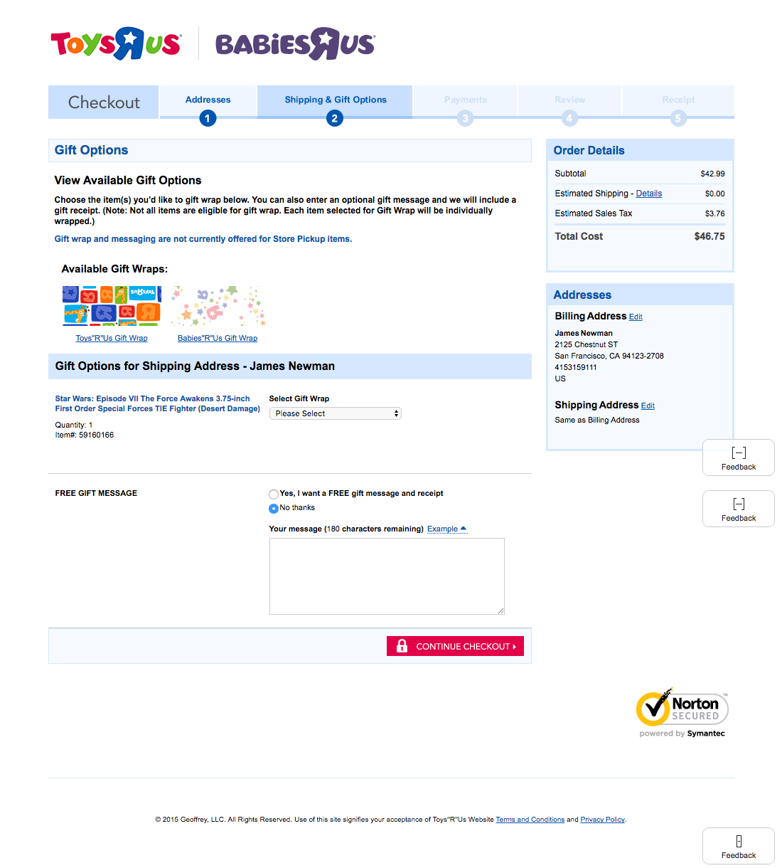 Toysrus cart checkout usability benchmark score 232 checkout step 4 of 8 gifting falaconquin