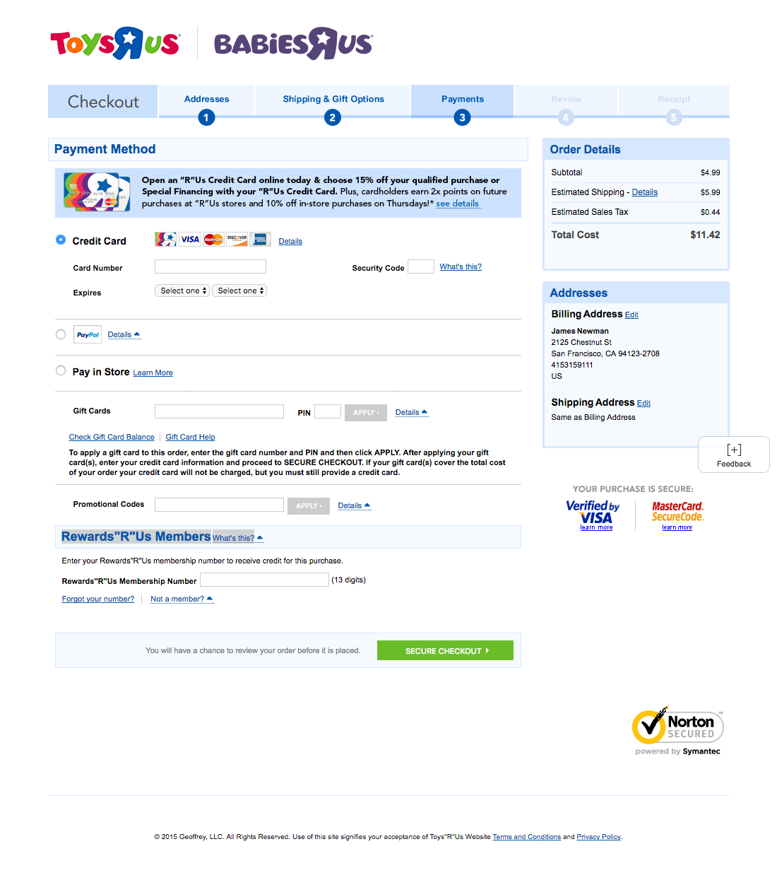 Toysrus cart checkout usability benchmark score 232 checkout step 6 of 8 payment falaconquin