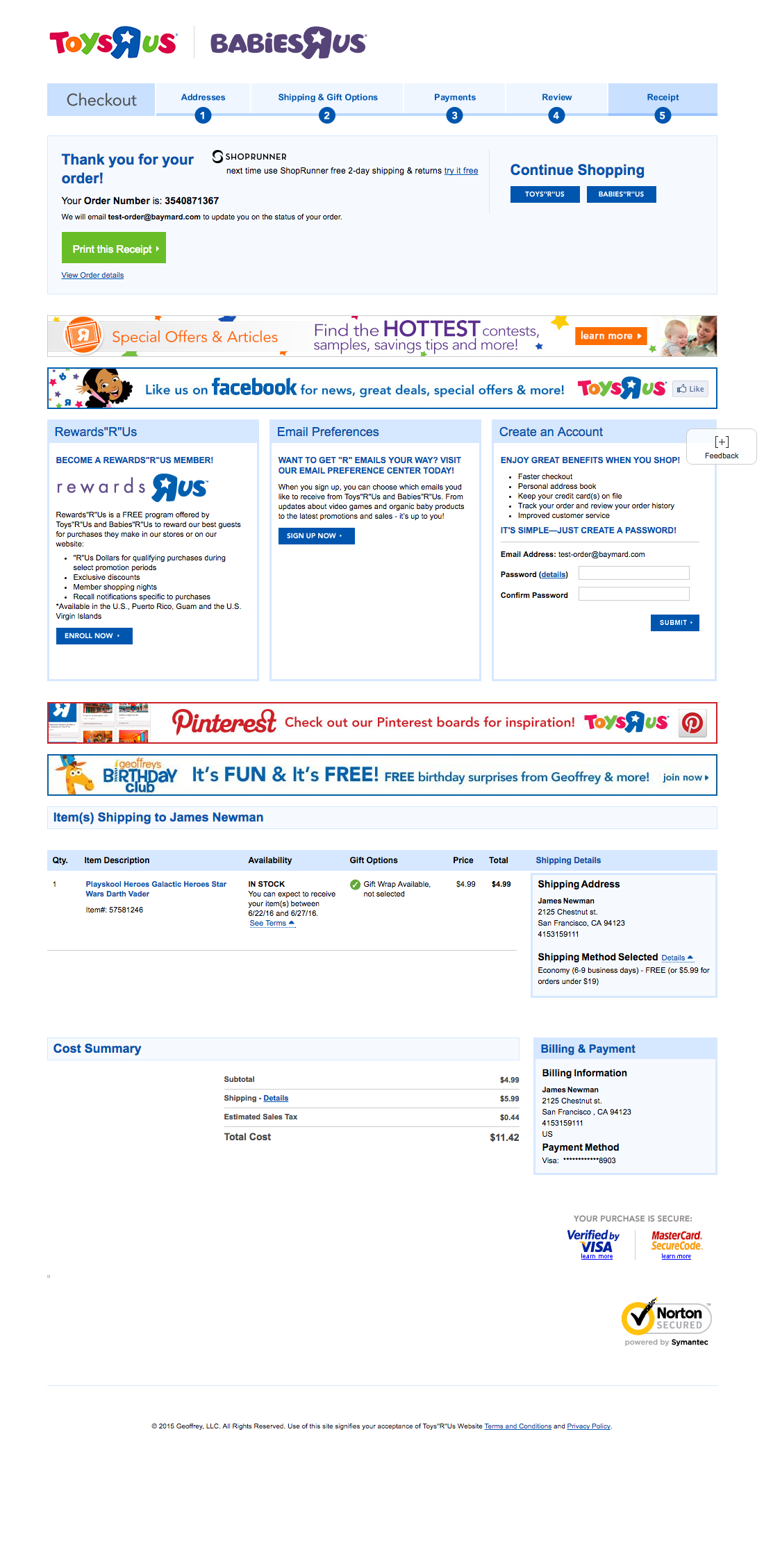 Toysrus cart checkout usability benchmark score 232 checkout step 8 of 8 receipt falaconquin