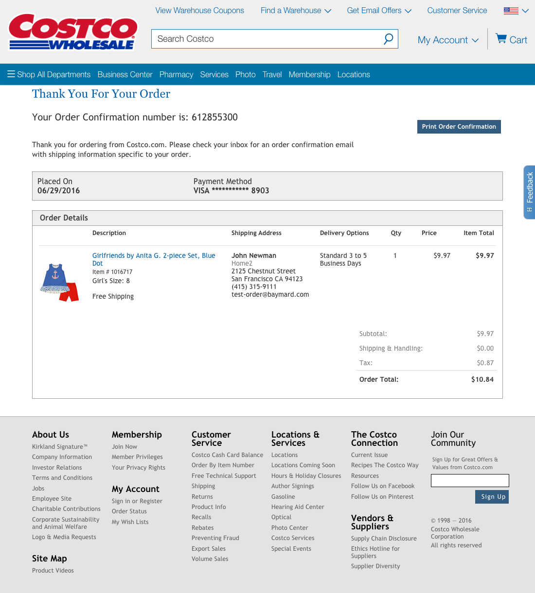 Costco Catalog Online: 120 Examples Of 'Order Confirmation' Checkout